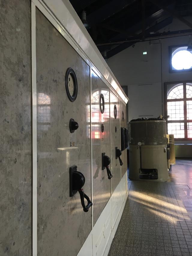 Historische Schaltanlage in der Elektrozentrale.