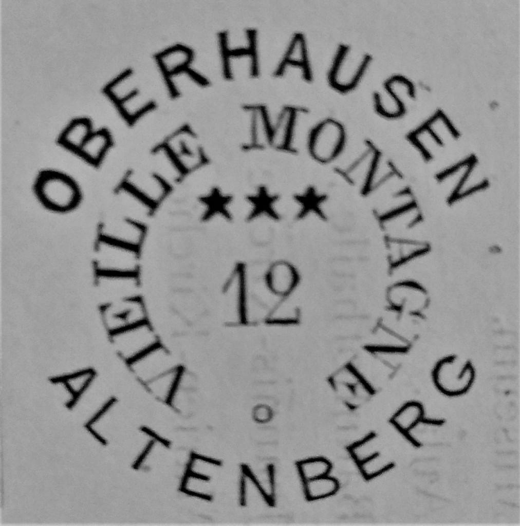 """Abbildung des kreisförmigen Stempels: """"Oberhausen Altenberg. Vielle Montagne 12"""""""