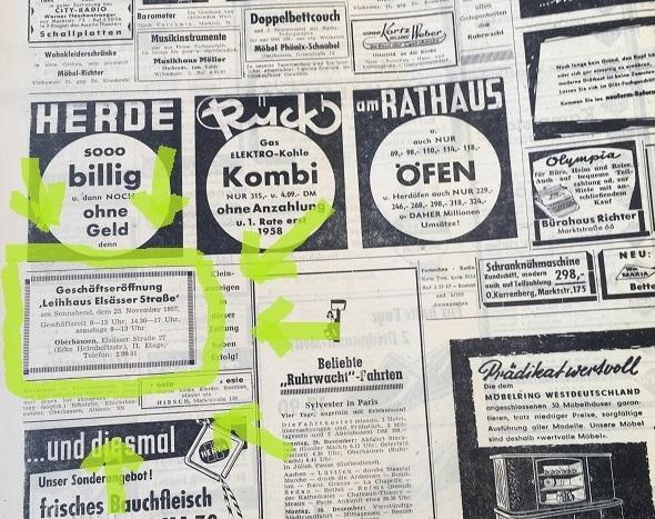 Zeitungsseite mit Werbeanzeigen. Markiert ist eine kleine, unscheinbare Anzeige zur Geschäftseröffnung des Leihhauses in der Elsässer Straße in Oberhausen.