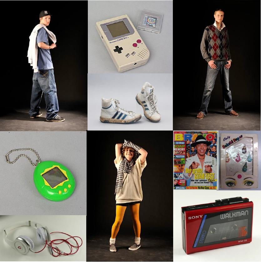 Collage mit Must Haves der Jugendkultur aus den 1980er bis 2010er Jahren.