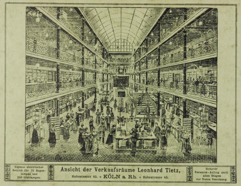 Warenhaus: Grafik eines Lichthofes in Kölner Leonhard Tietz-Filiale_Zinkfabrik Altenberg
