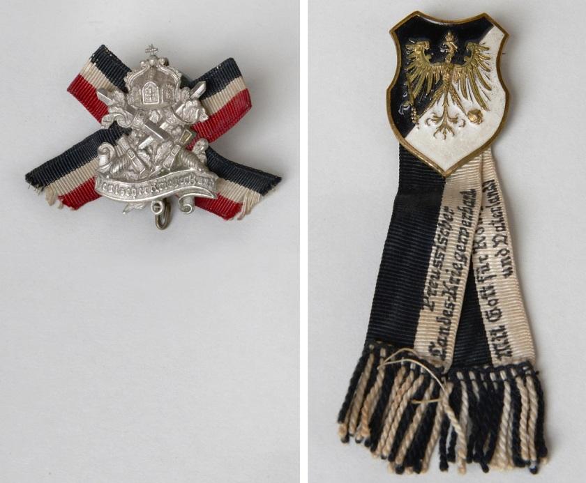 Zwei Abzeichen von bürgerlichen Vereinen zur Zeit des Kaiserreichs. Geprägtes Metall mit Textilbändern.